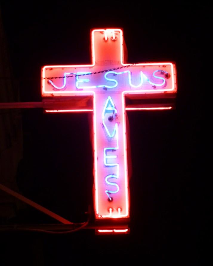 Jesus Saves Neon Cross