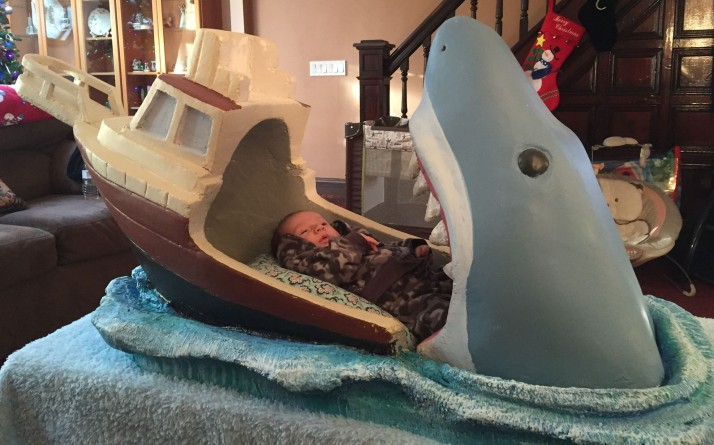 Shark Attack Bed with Baby on Platform