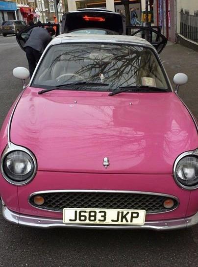 Pink Nissan Figaro Head On