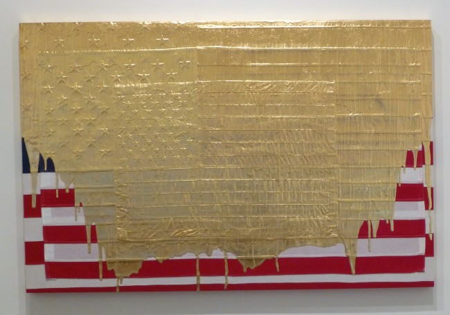American Flag with Gold Paint