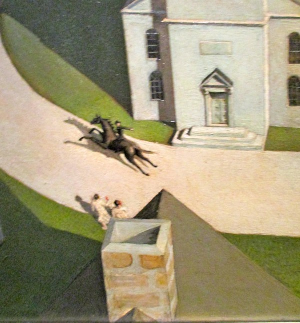 the idea of the ride in the midnight ride of paul revere a painting by grant wood