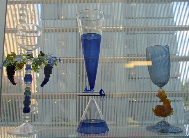 Three Blue Goblets