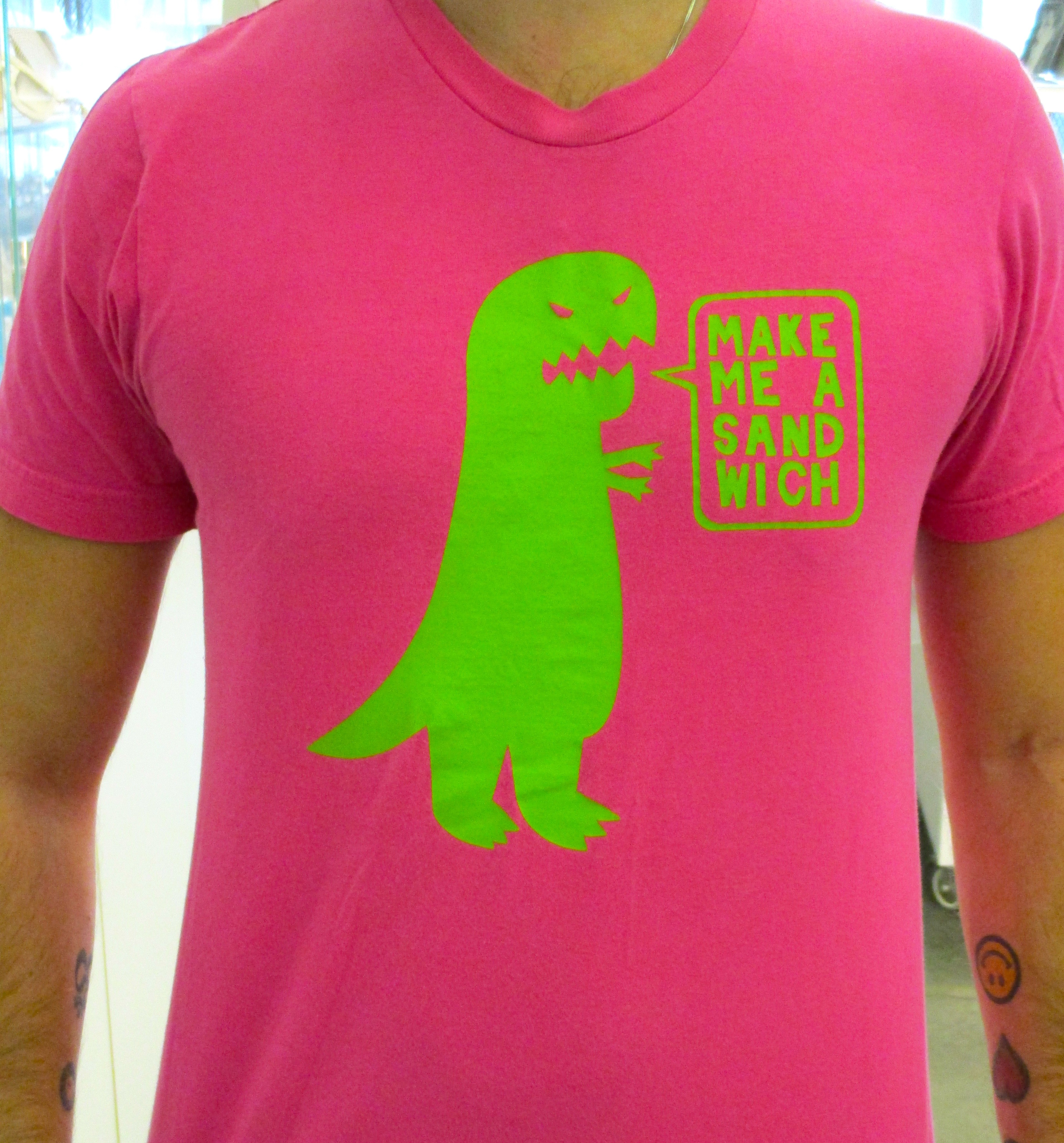 "Pink Thing of The Day: ""Make Me a Sandwich"" Dinosaur T Shirt 