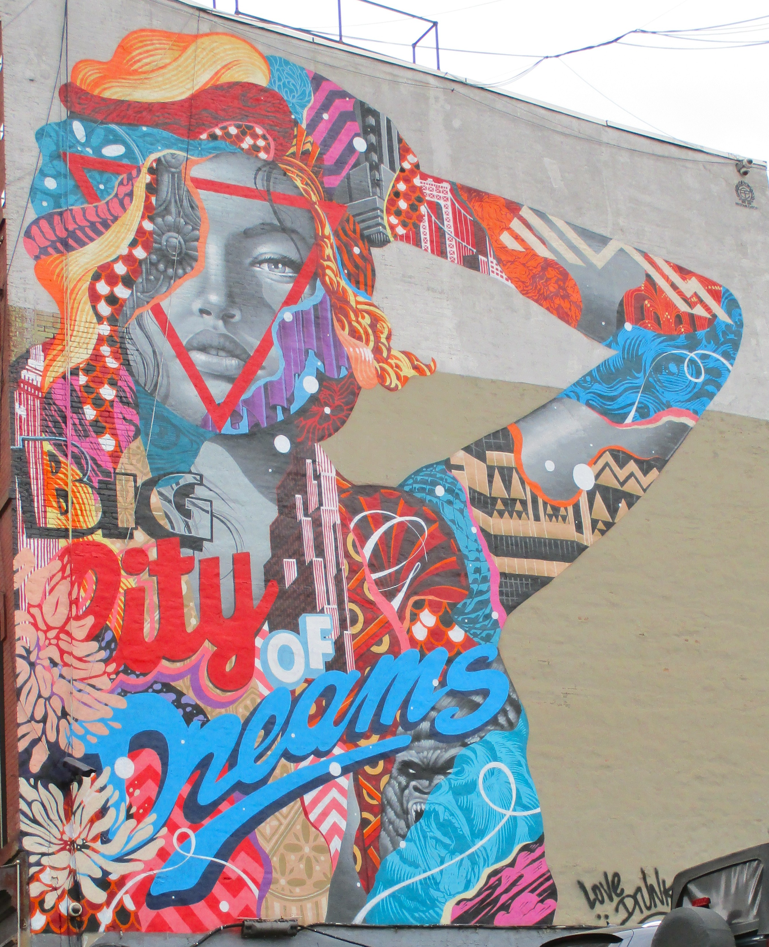 Big city of dreams mural by tristan eaton the worley gig for Mural on broome street