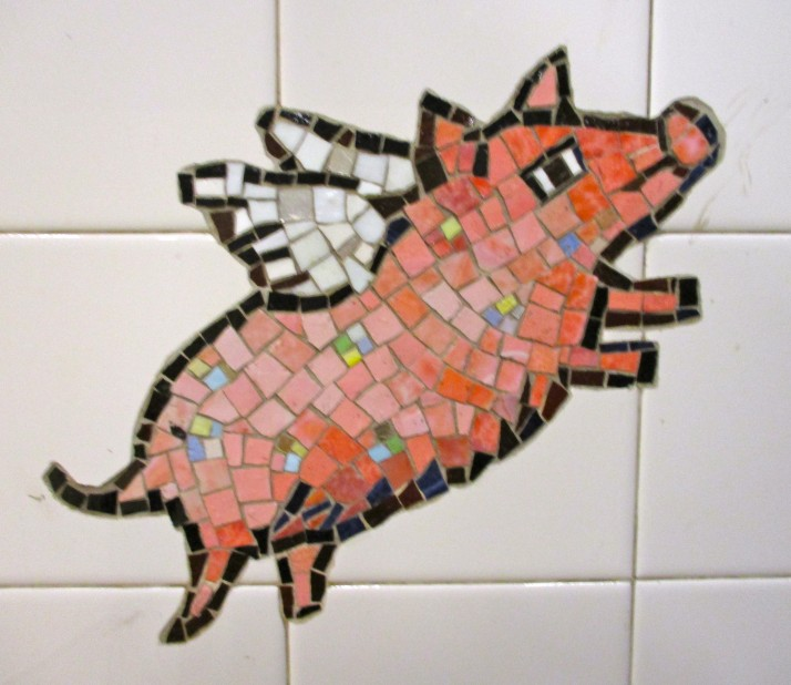 Winged Pig Tile Mosaic