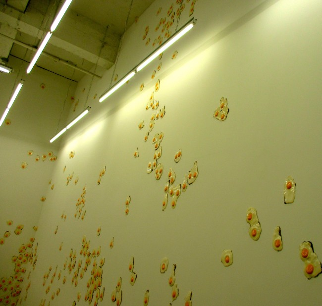Eggs High on Wall