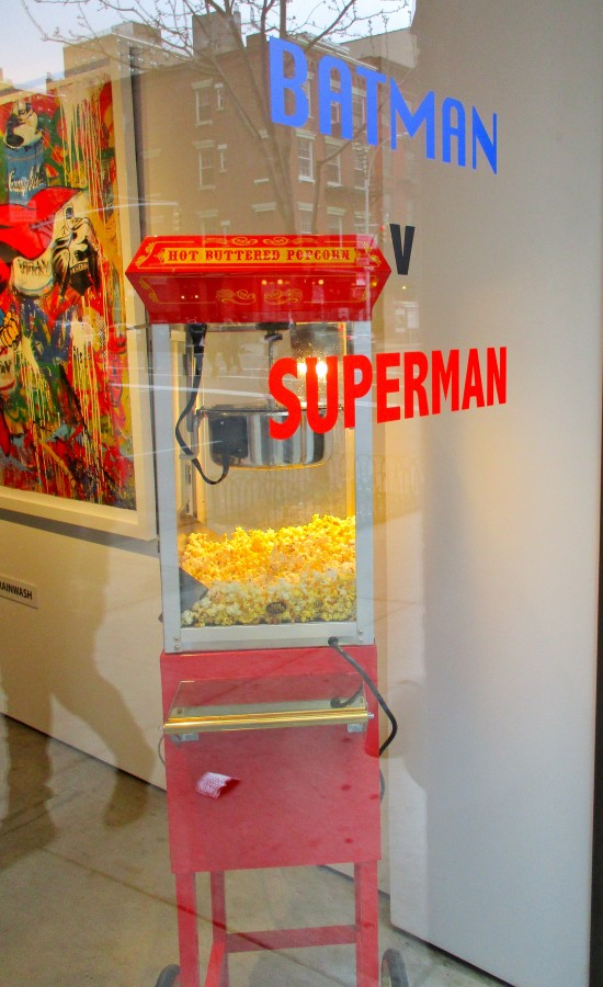 Batman V Superman Signage with Popcorn
