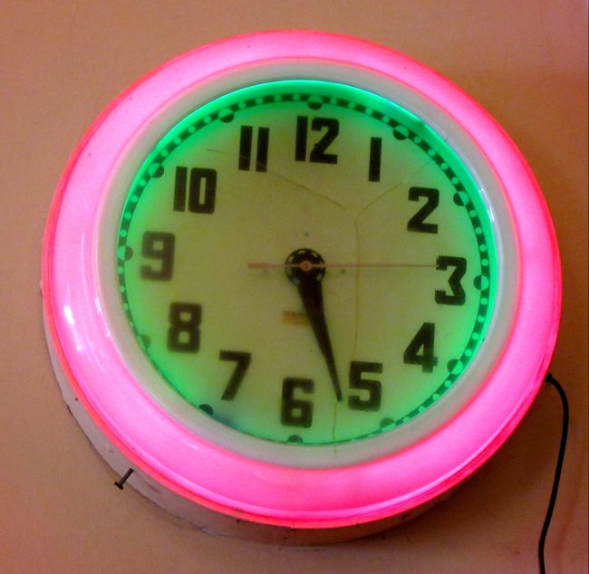 Neon Pink Retro Wall Clock