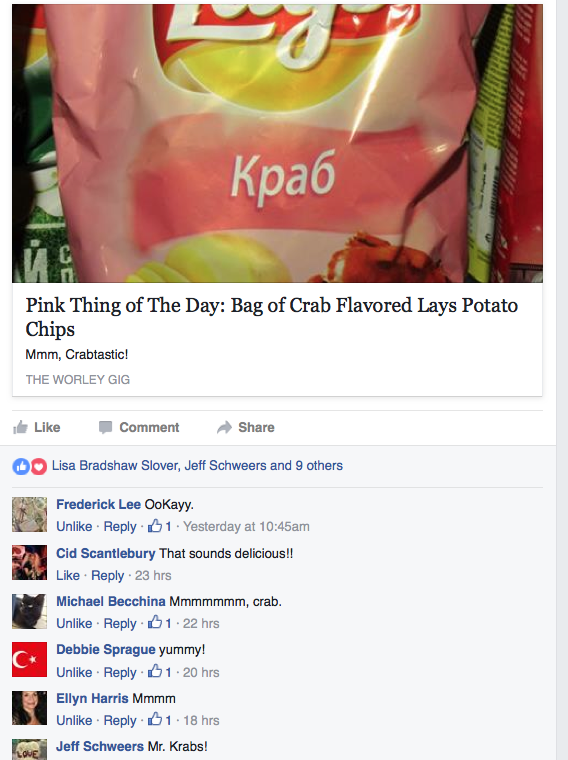 Crab Chips FaceBook Comments