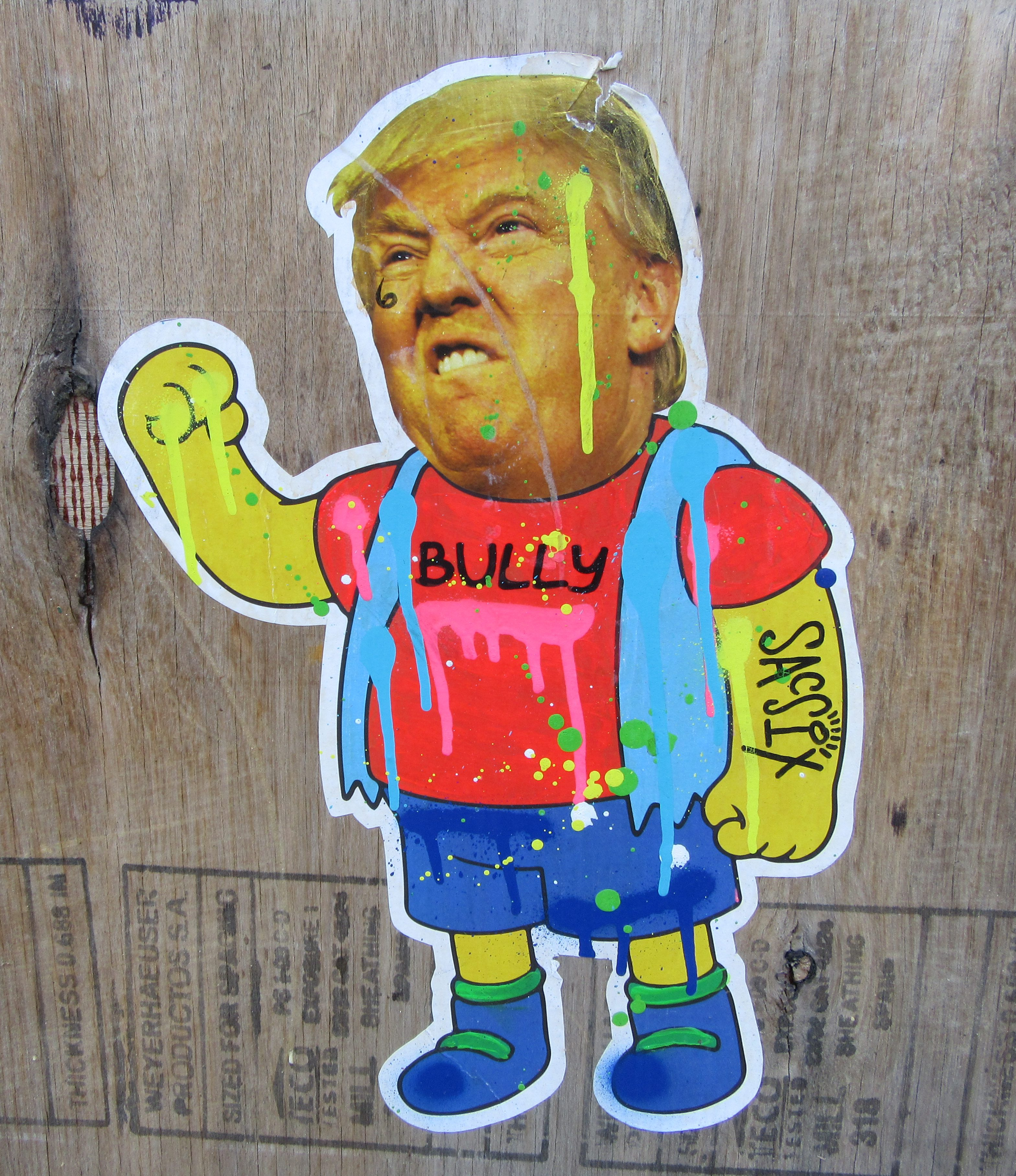donald trump is street art part 5 trump as nelson from the simpsons