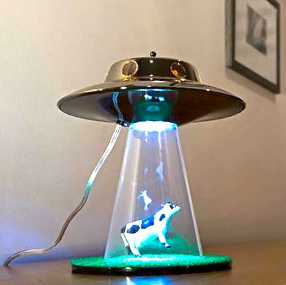 Yes, It Exists: Alien Abduction Cow Lamp | The Worley Gig