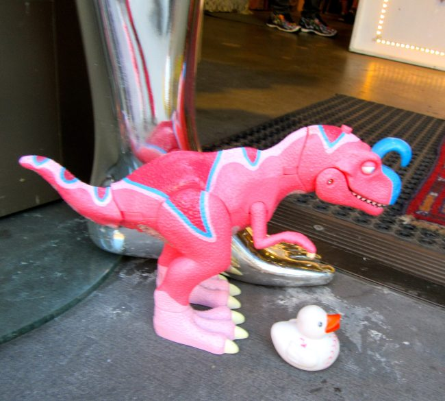 Pink Dinosaur and Toy Duck