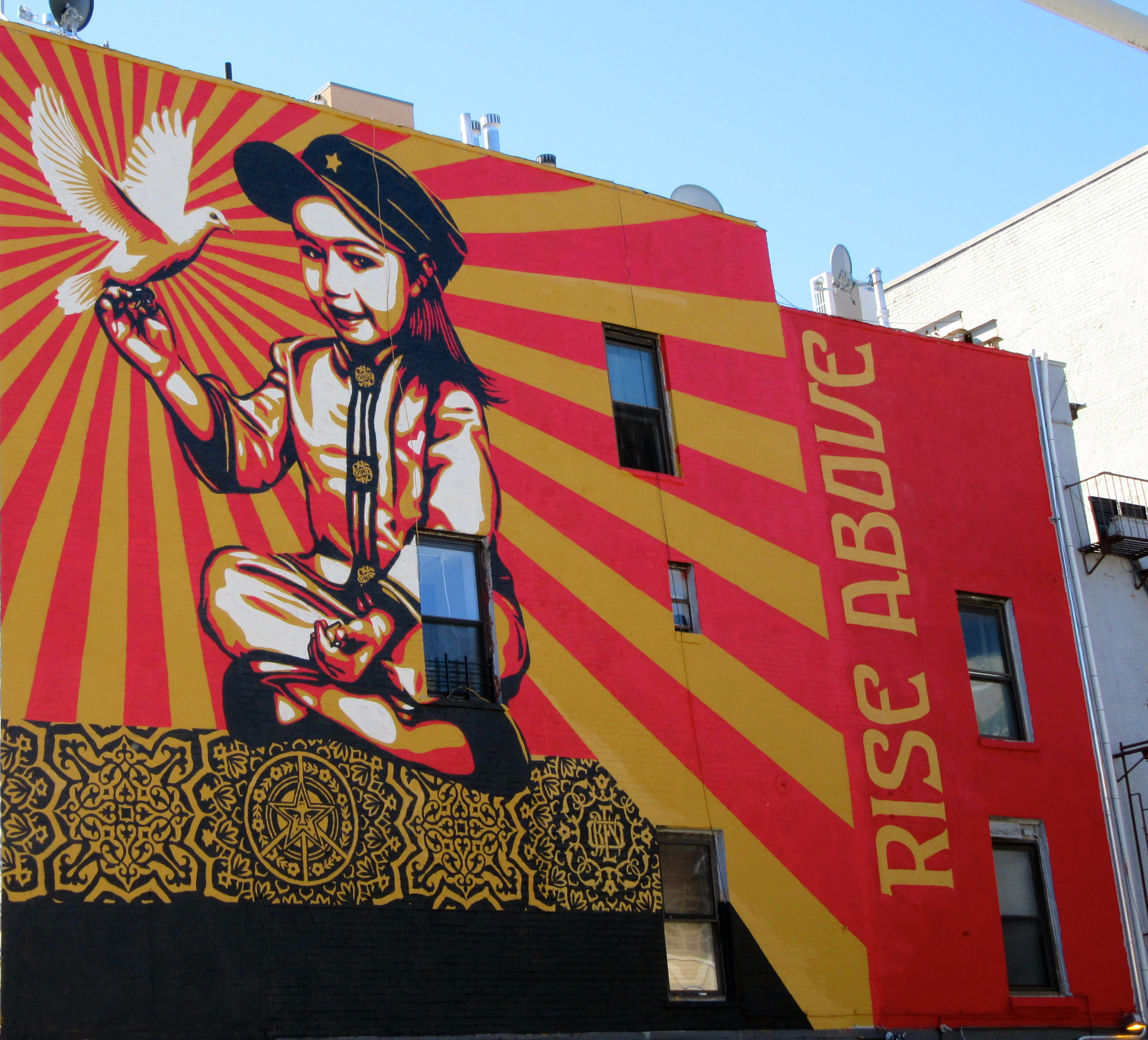Graffiti Wall Murals Shepard Fairey S Rise Above Mural East Village Nyc The