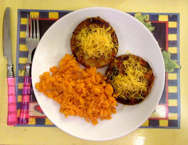 Riced Sweet Potatoes and Veggie Burgers