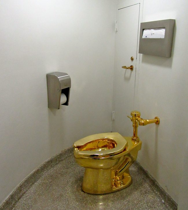 Bathroom with Golden Toilet
