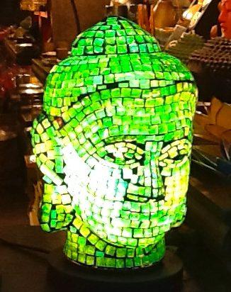 Mosaic Buddha Lamp Detail