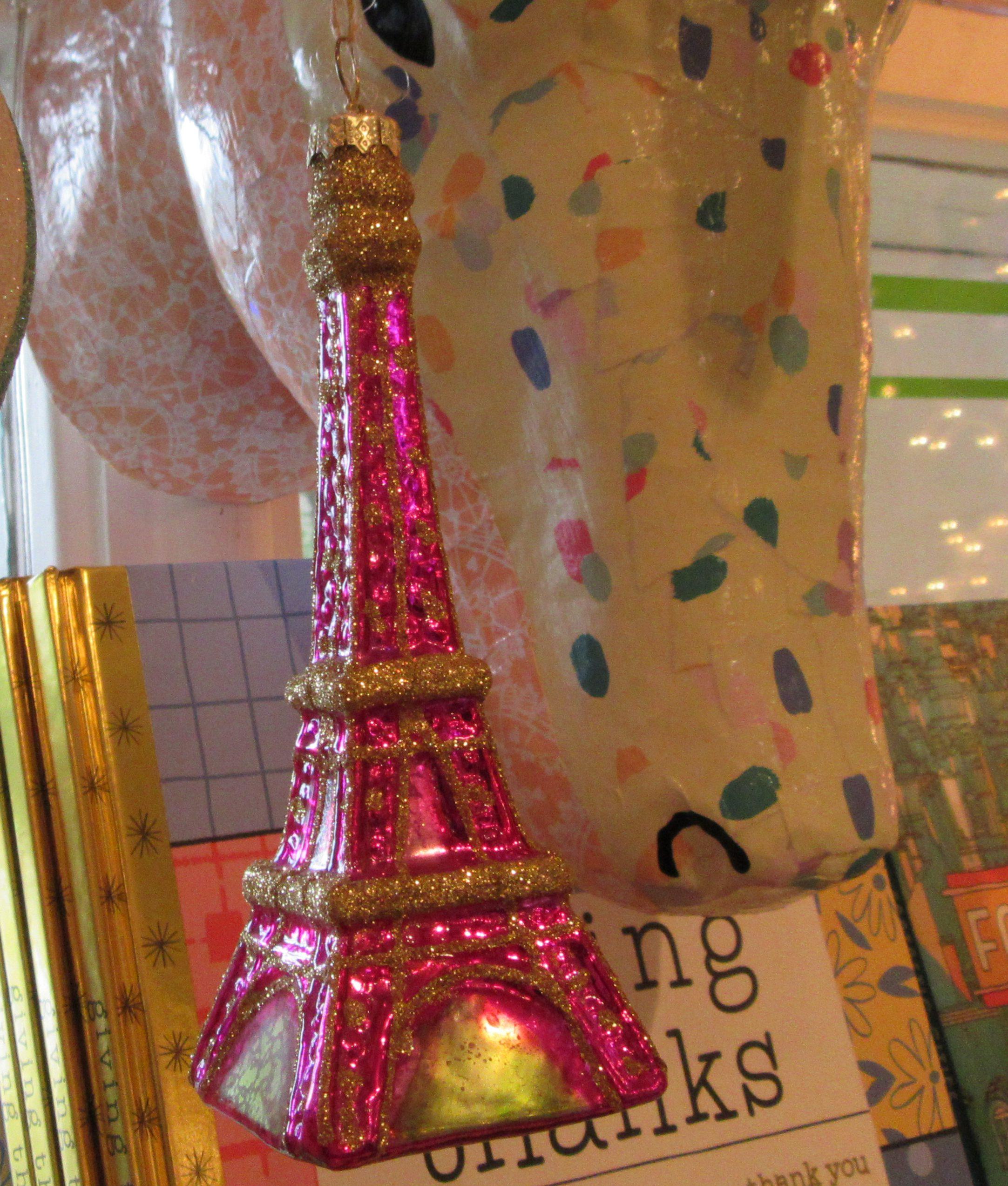 Eiffel tower christmas tree ornament - Pink Eiffel Tower Ornament