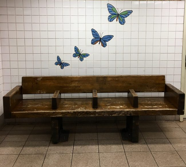 Butterflies Tile Mosaic with Bench