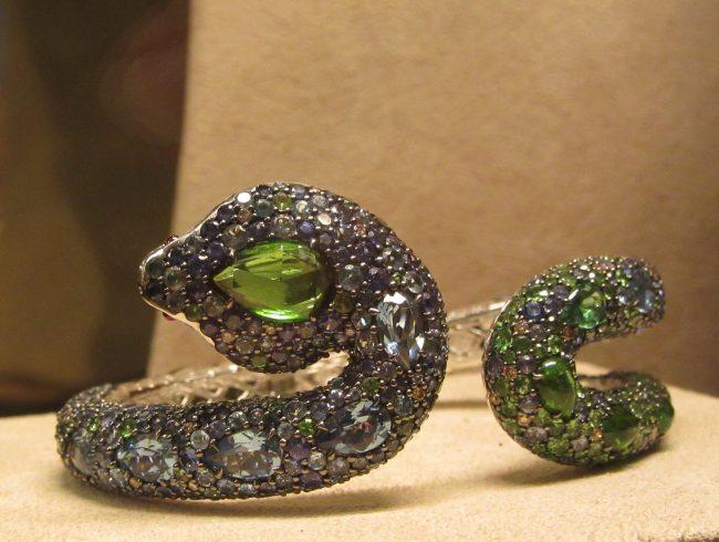 Green Eyed Snake Cuff