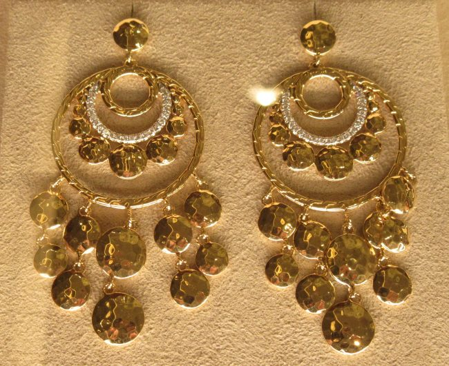 Dot Chandelier Earring in Hammered Metal