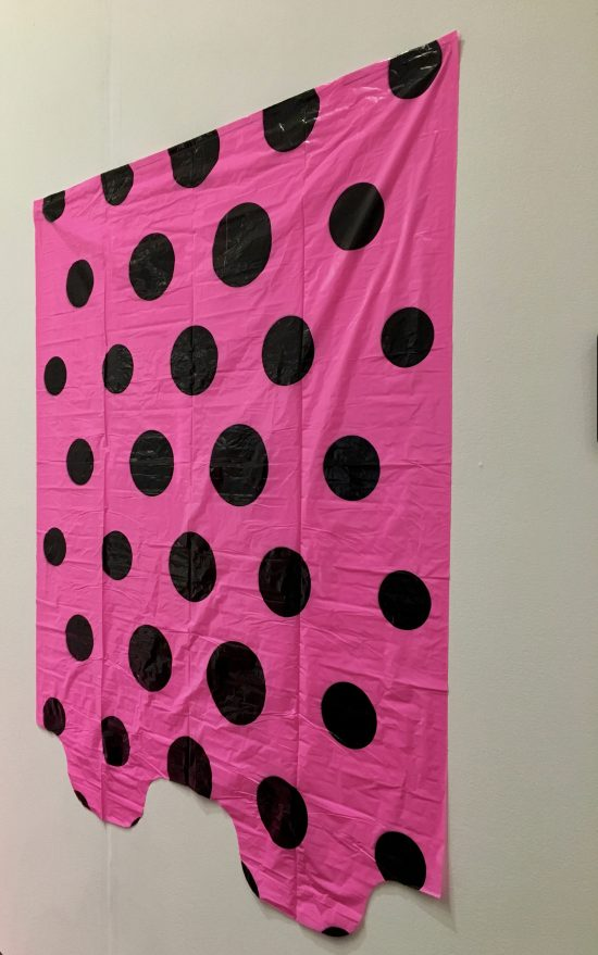 Pink Polka Dot Garbage Bag On The Wall