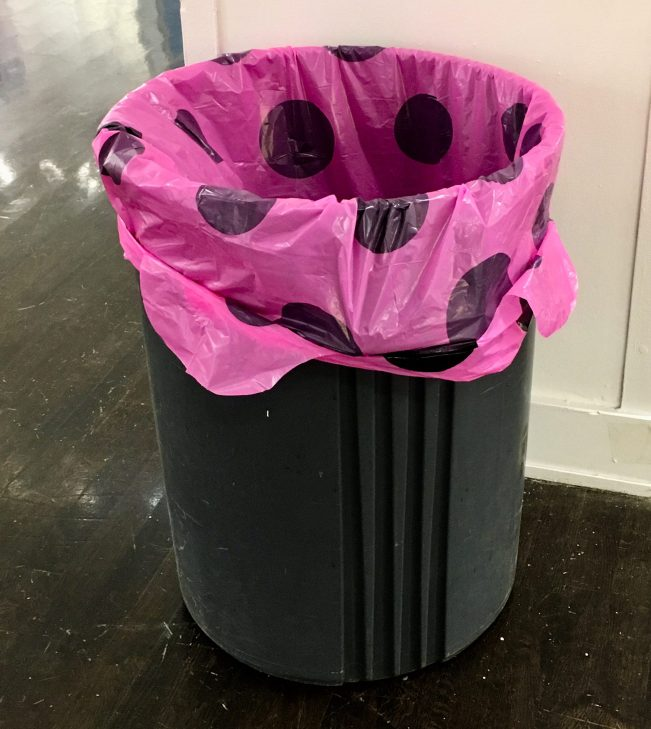 Pink Polka Dot Garbage Bag in a Can