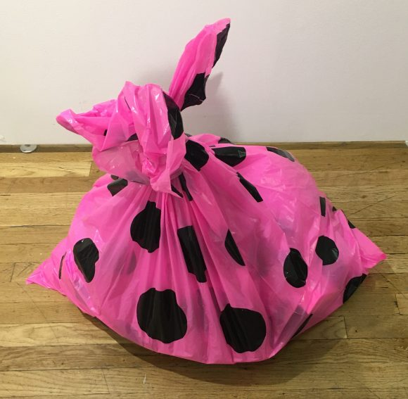 Pink Polka Dot Garbage Bag On The Floor