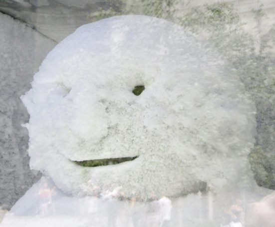Snowman Sculpture Head Detail