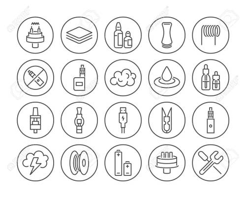 Set of Vaping Culture Icons