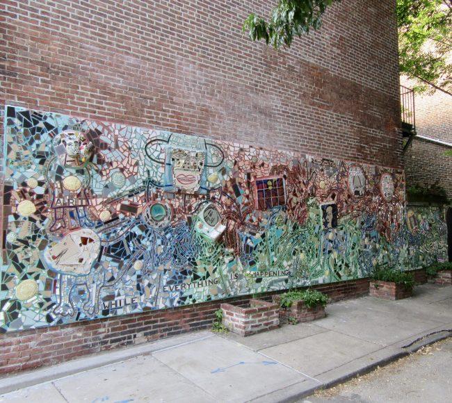 Ceramic Tile Mosaic Mural in Alleyway