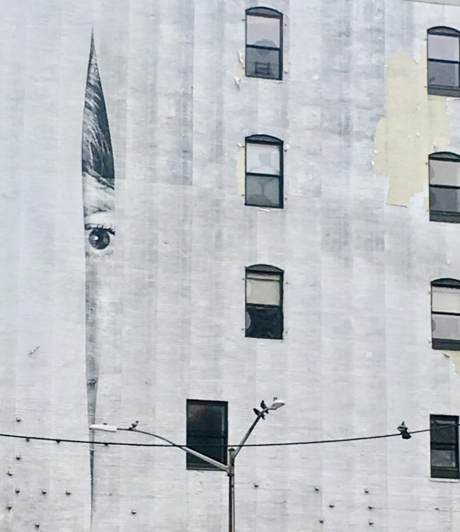 JR Eye Mural on Building Detail
