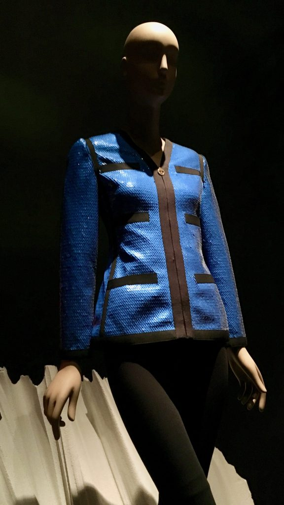 Blue and Black Sequined Grosgrain Jacket