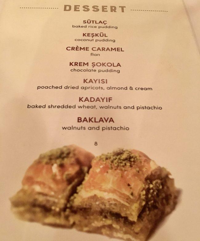 Uskudar Dessert Menu