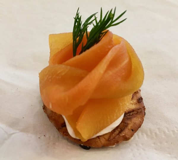 Bagel Chip with Cream Cheese and Smoked Carrot
