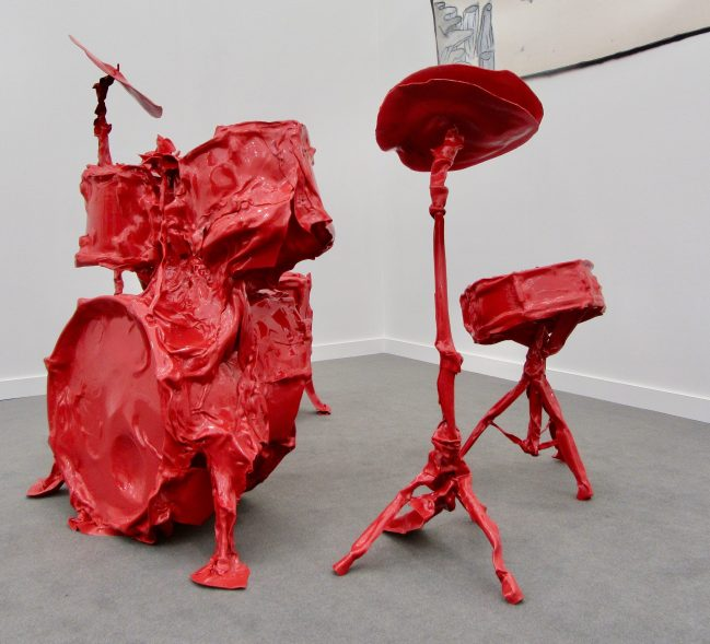 Red Plastic Drumkit Side View