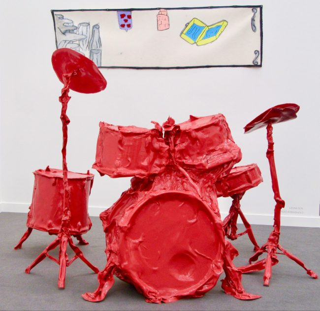 Red Plastic Drum Kit Front View