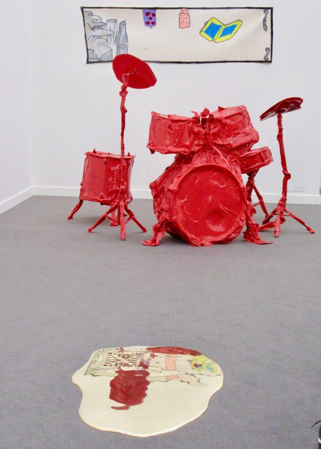 Red Plastic Drumkit Installation View