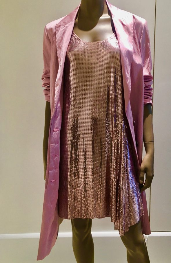Pink Metallic Mesh Dress