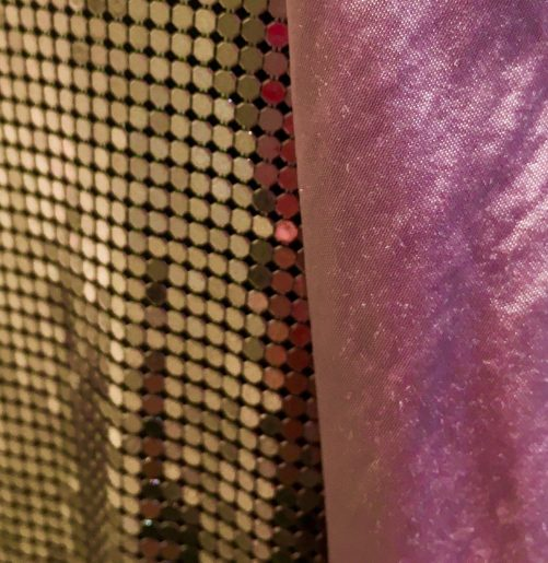 Pink Metallic Mesh Dress Detail