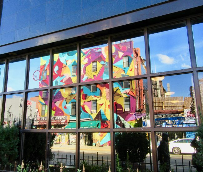 Ola Kalnins Building Mural Reflection