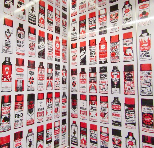 Spray Paint Cans in Elevator