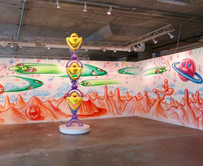 Kenny Scharf Sculpture and Mural