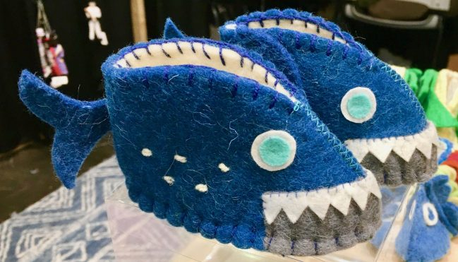 shark attack baby slippers by gail worley