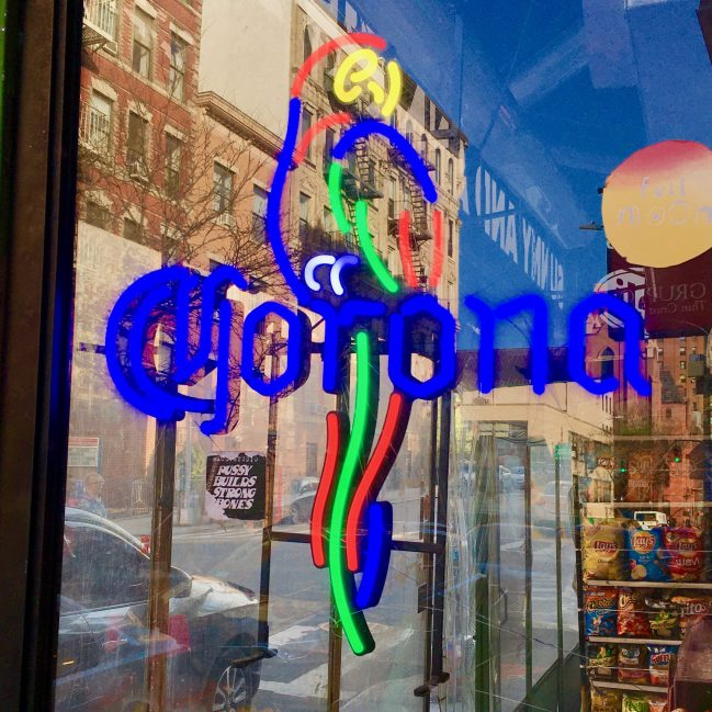 Corona Sign in Bar Window Photo By Gail Worley