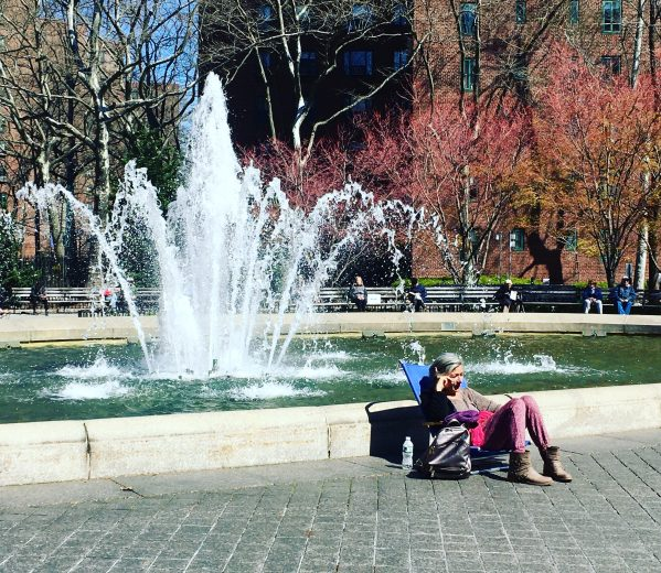 social distancing at stuytown fountain photo by gail worley