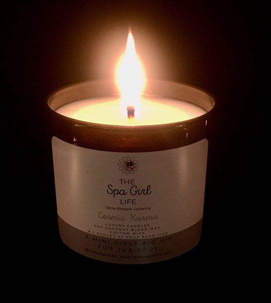 spa girl life lit cosmic karma candle photo by gail worley